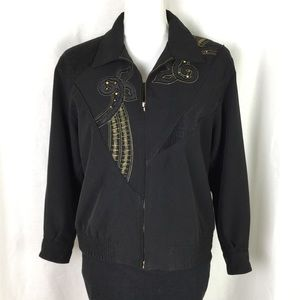 Vintage black jacket with gold detail size small